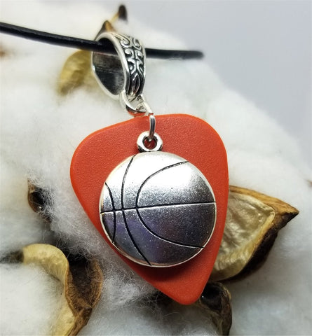 Basketball Charm on a Burnt Orange Guitar Pick with a Black Rolled Cord Necklace