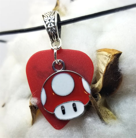 Super Mario Bros Red Mushroom on Red Matte Guitar Pick with a Black Rolled Cord Necklace
