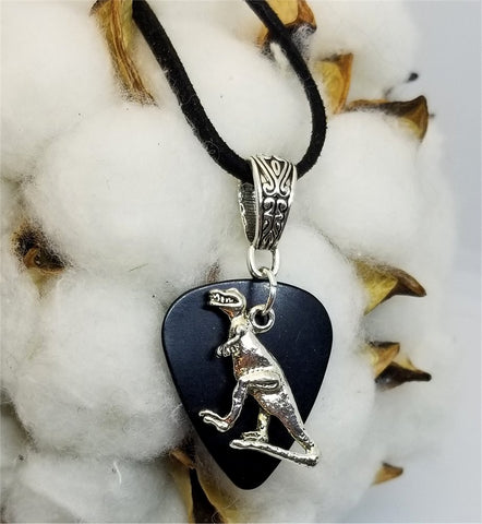 Tyrannosaurus Rex Charm on Black Guitar Pick Necklace with Black Suede Cord