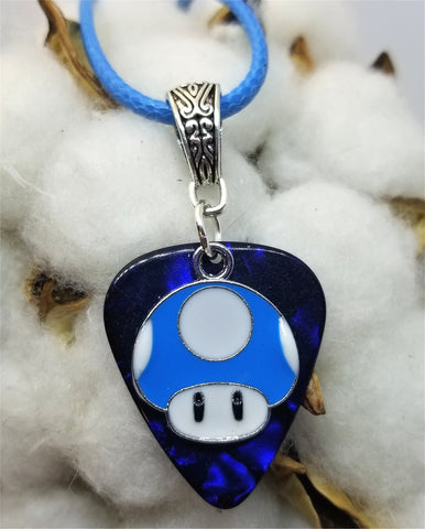 Super Mario Bros Blue Mushroom Guitar Pick on a Blue Rolled Cord Necklace