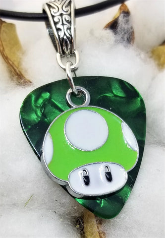 Super Mario Bros Green Mushroom on Green MOP Guitar Pick with a Black Rolled Cord Necklace
