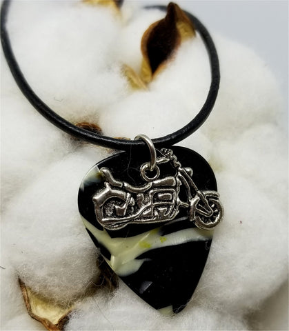 Motorcycle Charm on a Black and White MOP Guitar Pick Necklace with a Rolled Black Leather Cord
