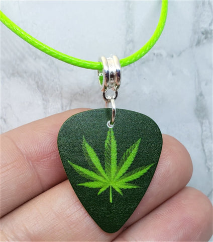 Marijuana Leaf Guitar Pick Necklace on Bright Green Rolled Cord