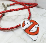 Ghostbusters Guitar Pick Necklace on Red Braided Cord