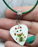 Lucky Cat Guitar Pick Necklace on Green Cord