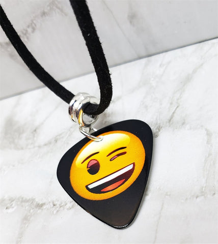 Winking Emoji Guitar Pick Necklace on Black Suede Cord