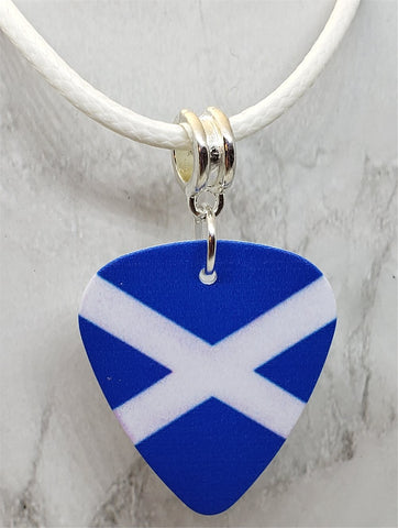 Flag of Scotland Guitar Pick Necklace on White Rolled Cord