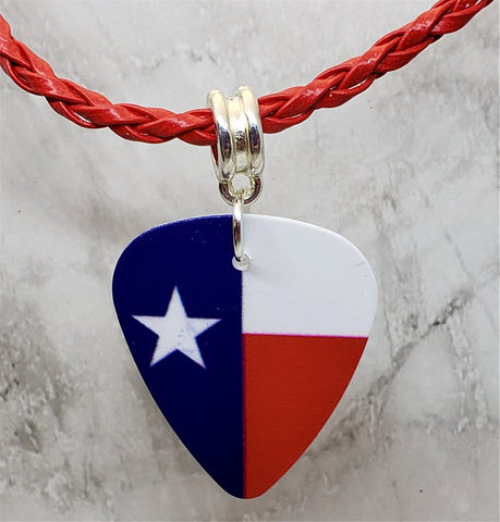 Texas Flag Guitar Pick Necklace with Braided Red Cord