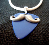Mustache Charm with a Blue Guitar Pick on a White Rolled Cord Necklace