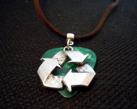 Recycle Symbol on a Green Guitar Pick and Brown Suede Cord Necklace