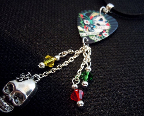 Sugar Skull Guitar Pick Necklace with Swarovski Crystals and Charms on Black Suede Cord
