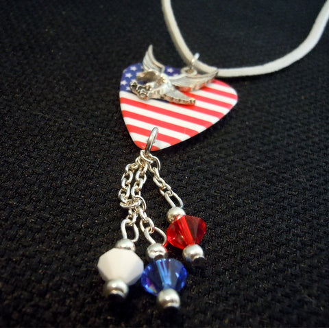 American Flag Guitar Pick Necklace with Eagle Charm and Swarovski Crystals on White Suede Cord
