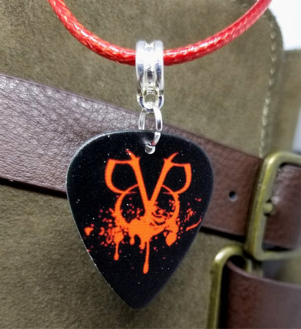 Black Veil Brides BVB Emblem Black Guitar Pick on a Red Rolled Cord Necklace