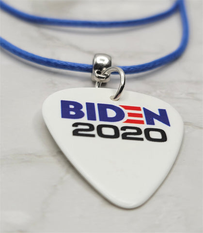 Biden 2020 Guitar Pick Necklace on Rolled Blue Cord