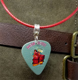 Bon Jovi Guitar Pick Necklace on Red Rolled Cord