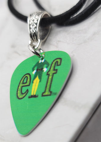 Elf Guitar Pick Necklace on Black Suede Cord