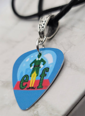 Elf Snow Globe Guitar Pick Necklace on Black Suede Cord
