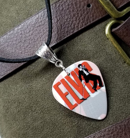 Elvis Guitar Pick Necklace on Black Suede Cord