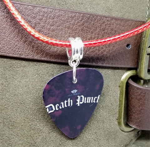 Five Finger Death Punch Guitar Pick Necklace on Red Rolled Cord