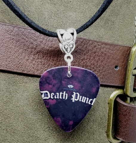 Five Finger Death Punch Guitar Pick Necklace on Black Suede Cord