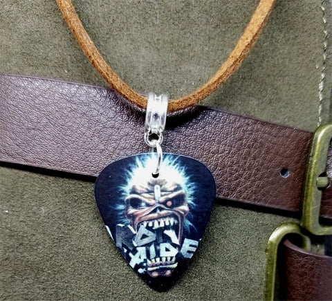 Iron Maiden Eddie Guitar Pick Necklace on Brown Suede Cord