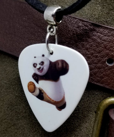 Kung Fu Panda Guitar Pick Necklace on a Black Suede Cord