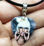 Lady Gaga Guitar Pick Necklace on Black Suede Cord
