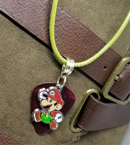Super Mario Bros Mario Guitar Pick on a Green Rolled Cord Necklace
