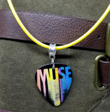 Muse The Resistance Tour 2010 Guitar Pick Necklace on Yellow Rolled Cord