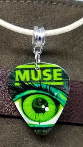 Muse Tour Poster Guitar Pick Necklace on Tan Rolled Cord