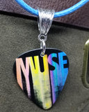 Muse The Resistance Tour 2010 Guitar Pick Necklace on Aqua Blue Rolled Cord