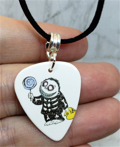 Trick or Treat Boy from The Nightmare Before Christmas Guitar Pick on Black Suede Cord Necklace