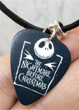 The Nightmare Before Christmas Jack Skellington Guitar Pick on Black Suede Cord Necklace