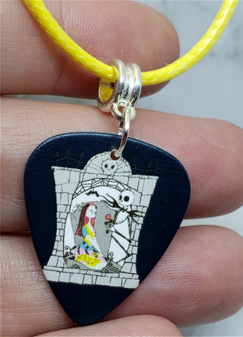 The Nightmare Before Christmas Sally and Jack Guitar Pick on Yellow Cord Necklace
