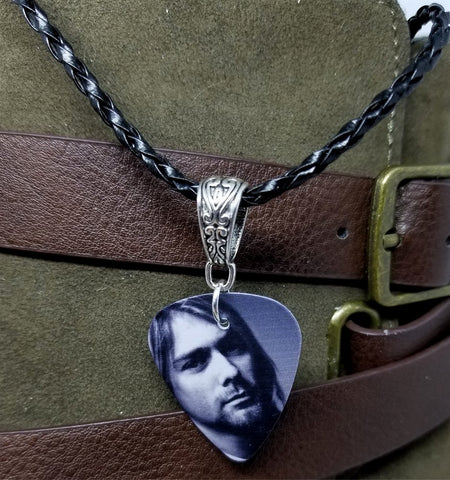 Nirvana Kurt Cobain Guitar Pick Necklace on Black Braided Cord