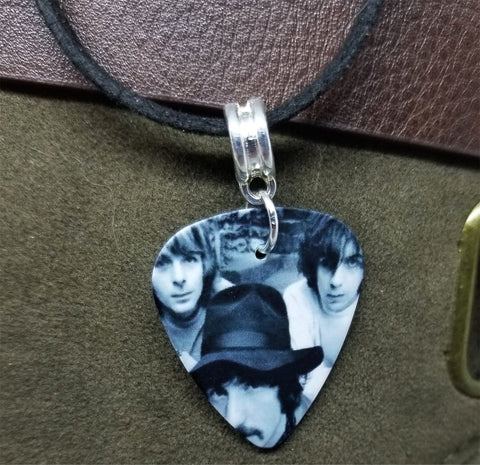 Pink Floyd Group Picture Guitar Pick Necklace on Black Suede Cord