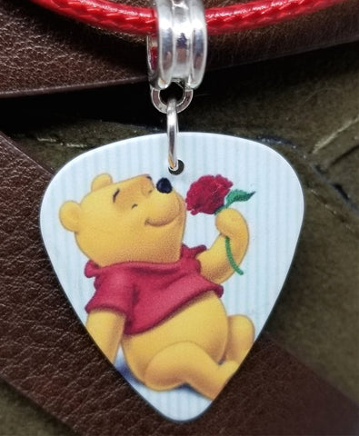 Winnie the Pooh Guitar Pick Necklace on Red Rolled Cord