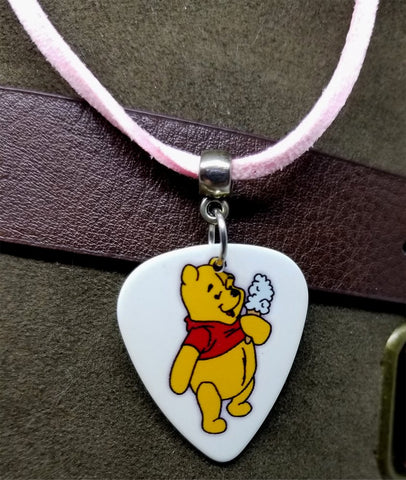 Winnie the Pooh with an Ice Cream Guitar Pick Necklace on Light Pink Suede Cord