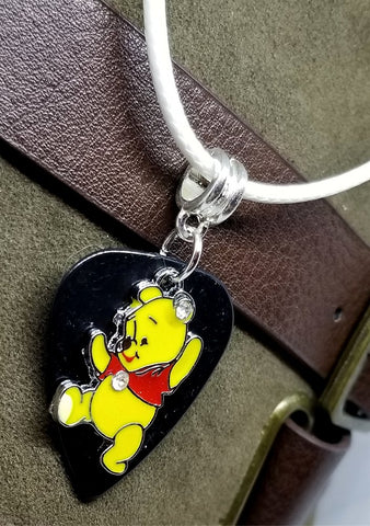Winnie the Pooh Charm on a Black Guitar Pick Necklace on Rolled Cord