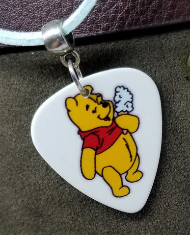 Winnie the Pooh with an Ice Cream Guitar Pick Necklace on Light Blue Suede Cord