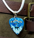 Icy Blue Mamacita Skeleton Guitar Pick and Blue Suede Cord Necklace