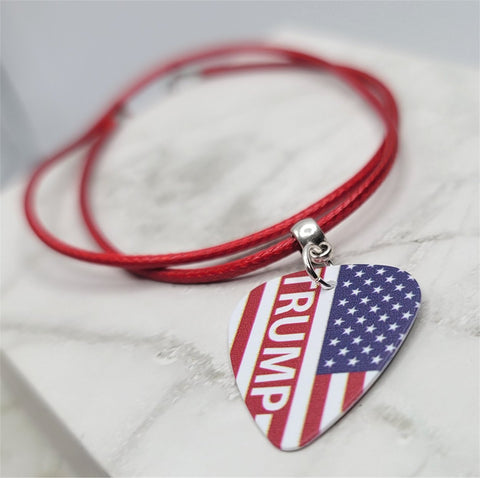 Trump on American Flag Guitar Pick Necklace on Red Rolled Cord