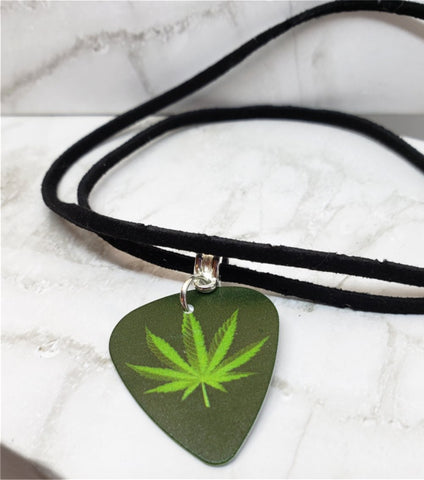 Marijuana Leaf Guitar Pick Necklace on Black Suede Cord