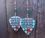 Grease Dance Competition Guitar Pick Earrings with Turquoise Swarovski Crystals
