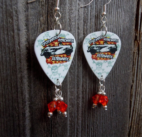 Greased Lightning Grease Guitar Pick Earrings with Fire Opal Crystal Dangles