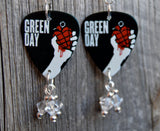 Green Day An American Idiot Album Cover Guitar Pick Earrings with Clear Swarovski Crystal Dangles