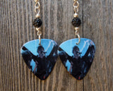 Billie Joe Armstrong Green Day Guitar Pick Earrings with Black Pave Beads