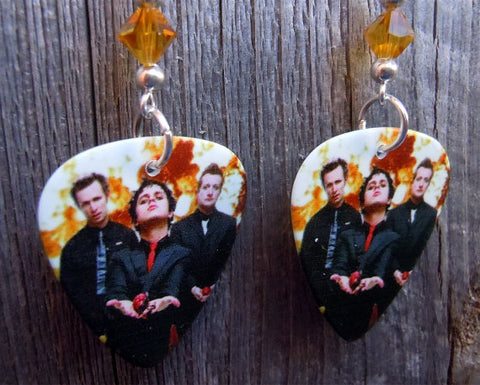 Green Day Guitar Pick Earrings with Orange Swarovski Crystals