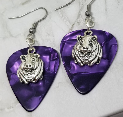 Guinea Pig Charm Guitar Pick Earrings - Pick Your Color