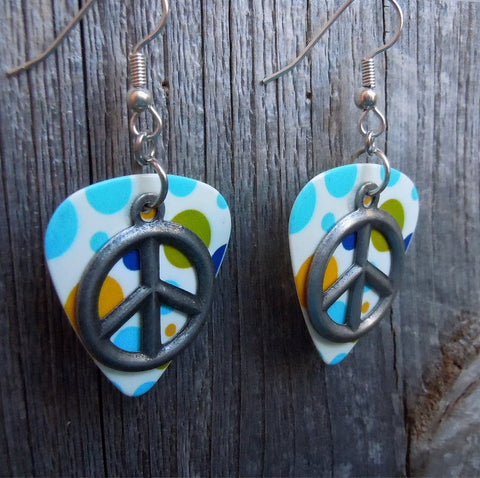 Peace Sign Charm on MultiColor Dot Guitar Pick Earrings